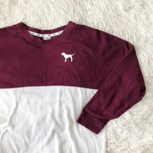 PINK burgundy, white and silver sweatshirt